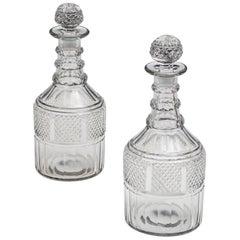 Fine Pair of Slice and Diamond Cut Regency Decanters