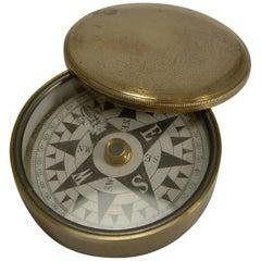 Antique English Brass Cased Floating Card Explorers Pocket Compass, circa 1880