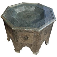 Moroccan Metal Inlaid Coffee Table, Glass Top Added