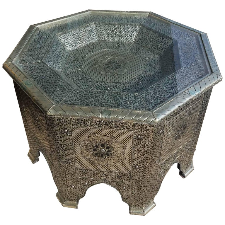439b1c2a3110f Moroccan Metal Inlaid Coffee Table, Glass Top Added For Sale at 1stdibs