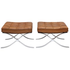 Pair of 1960s Knoll Barcelona Stool's by Ludwig Mies vd Rohe in Cognac Leather