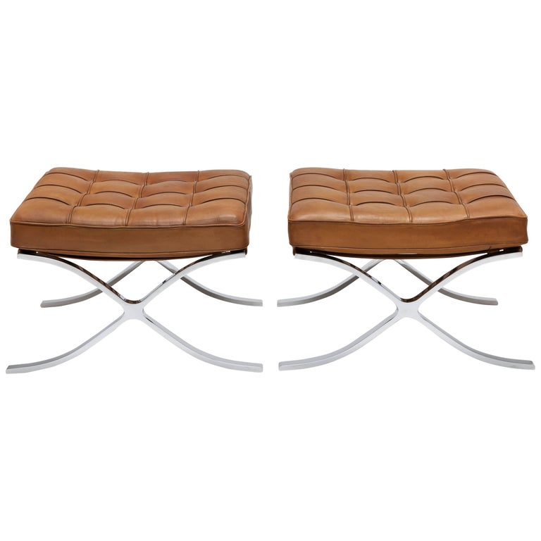 Pair of 1960s Knoll Barcelona Stool's by Ludwig Mies vd Rohe in Cognac Leather For Sale