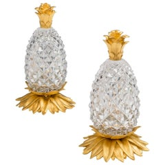Highly Unusual Pair of Victorian Ormolu-Mounted Cut-Glass Pineapples