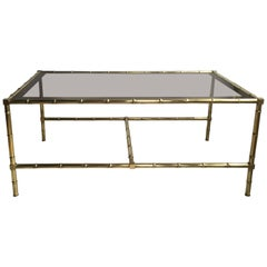 Vintage French Faux Bamboo Brass Coffee Table