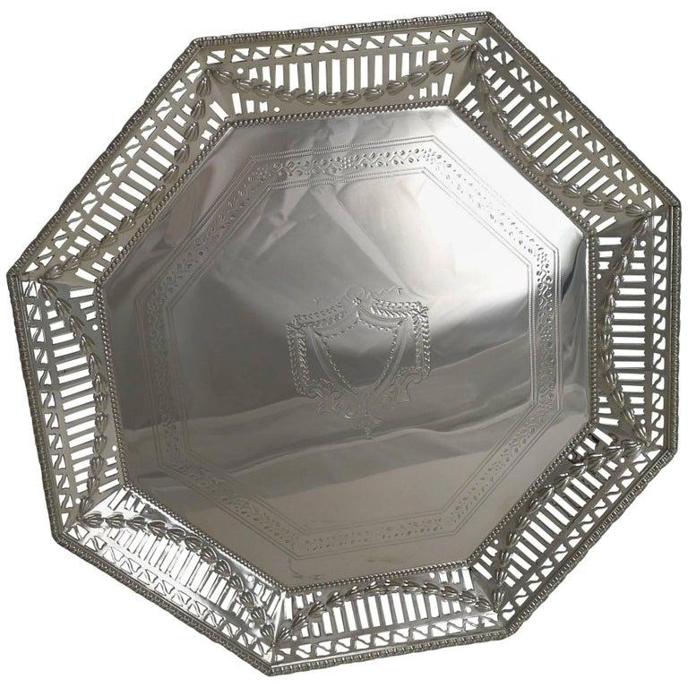 Antique English Silver Plated Salver or Tray, circa 1900