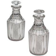Pair of Regency Pillar and Diamond Cut Decanters