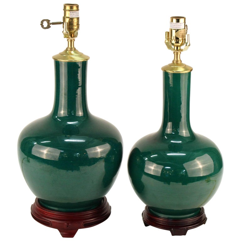 Hollywood Regency Style Green Table Lamps