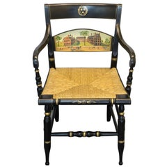 Ebonized and Gilt Rush Seat Armchair, Presented to Sir Colin Corness of Harvard