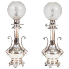 Pair of Silver Plated Table Lamps, in the Chinese Style, French, circa 1890