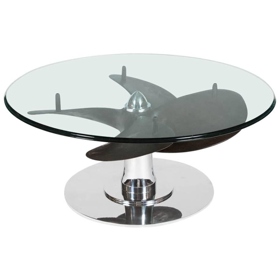 Ship's Propeller Table with Glass Top