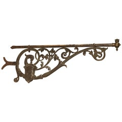 Large 19th Century Painted Iron Sign Holder from Bordeaux, France