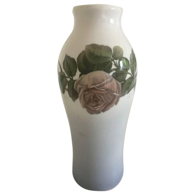 Royal Copenhagen Vase 933423 With White Rose Motif For Sale At 1stdibs