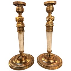 Pair of Empire Egyptian Style Bronze and Rock Crystal Candlesticks
