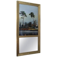 19th Century French Trumeau with Painted Scene on Glass