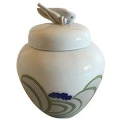 Royal Copenhagen Art Nouveau Lidded Bowl with Grasshopper #893/254