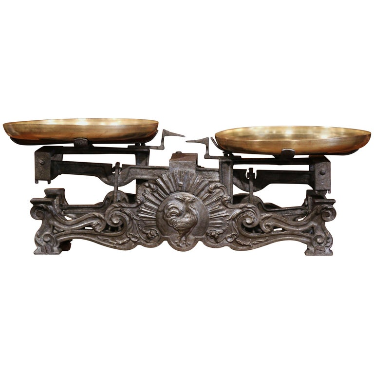 19th Century French Polished Iron and Brass Scale with Rooster Decor For Sale