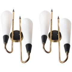 Pair of Italian Brass and Glass Wall Sconces, circa 1950
