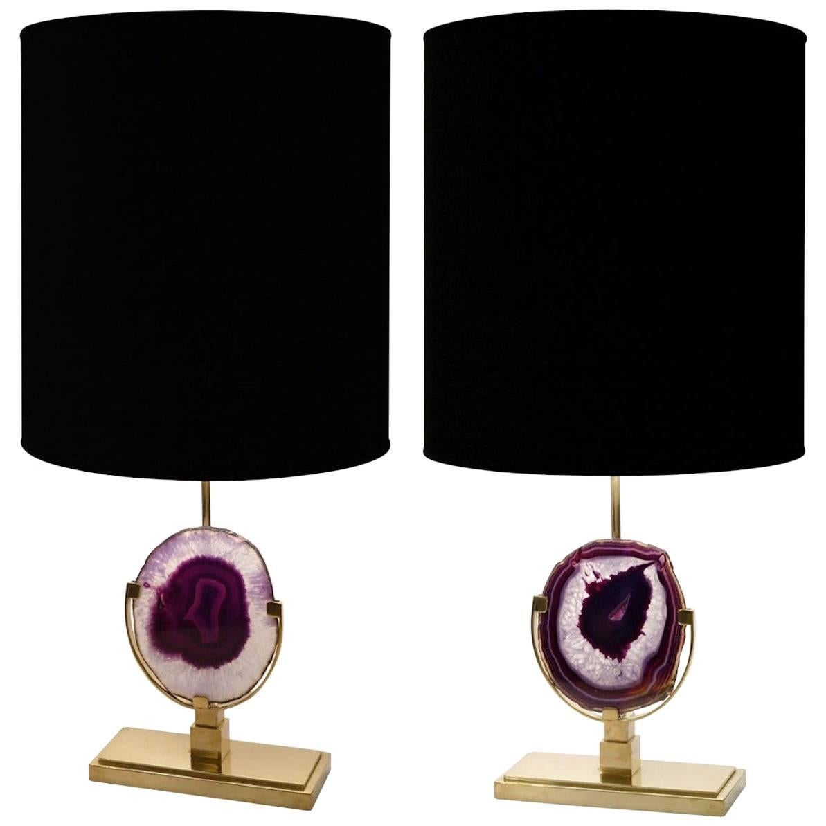 Pair of Agate Stone and Natural Brass Lamps