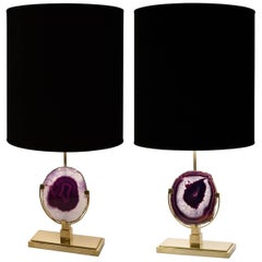 Pair of Purple Agate Stone and Natural Brass Lamps