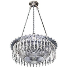 Fine Victorian Diamond Cut Bowl Light