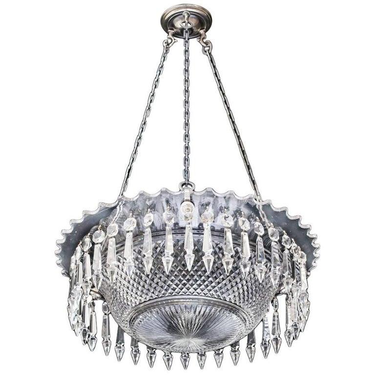 Fine Victorian Diamond Cut Bowl Light