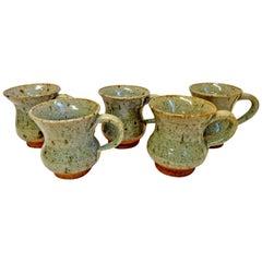 Set of Five Hand Thrown Stoneware Mugs
