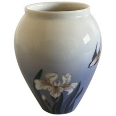 Royal Copenhagen Vase #2676/271 with French Lilly and Swallow Motif