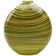 Green Blown Glass Round Vase, Moss Swirl Series by Siemon & Salazar