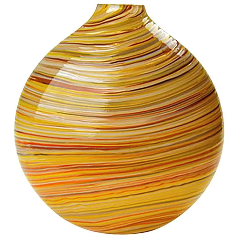 Red Blown Glass Round Vase, Mustard Swirl Series by Siemon & Salazar