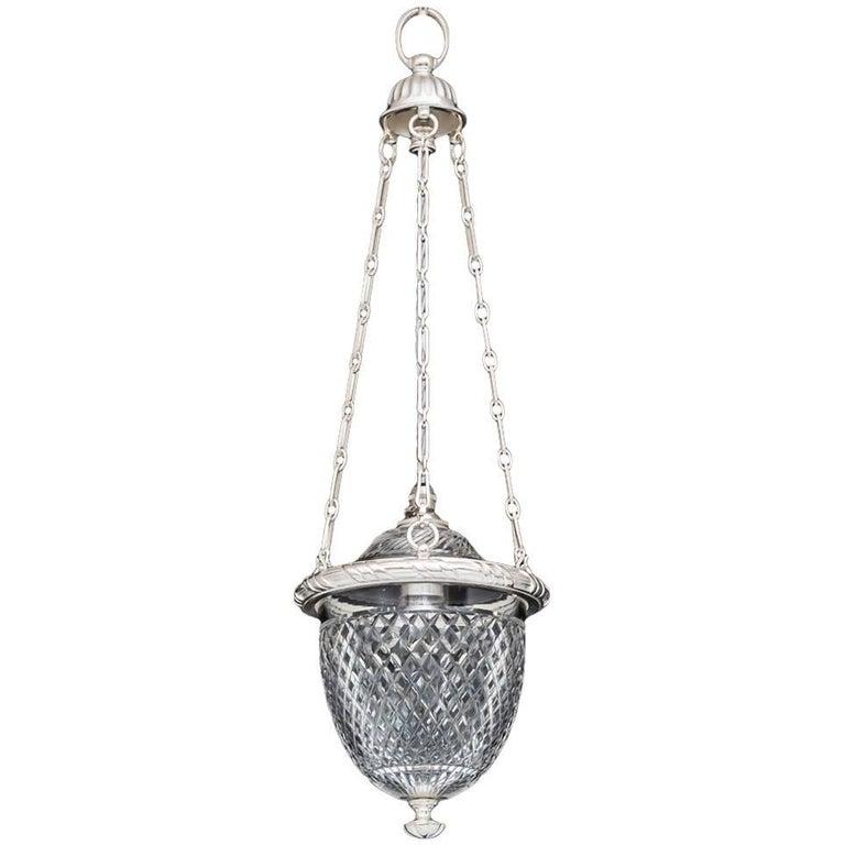 Victorian Silver Mounted Diamond Cut Glass Hall Lantern by F&C Osler