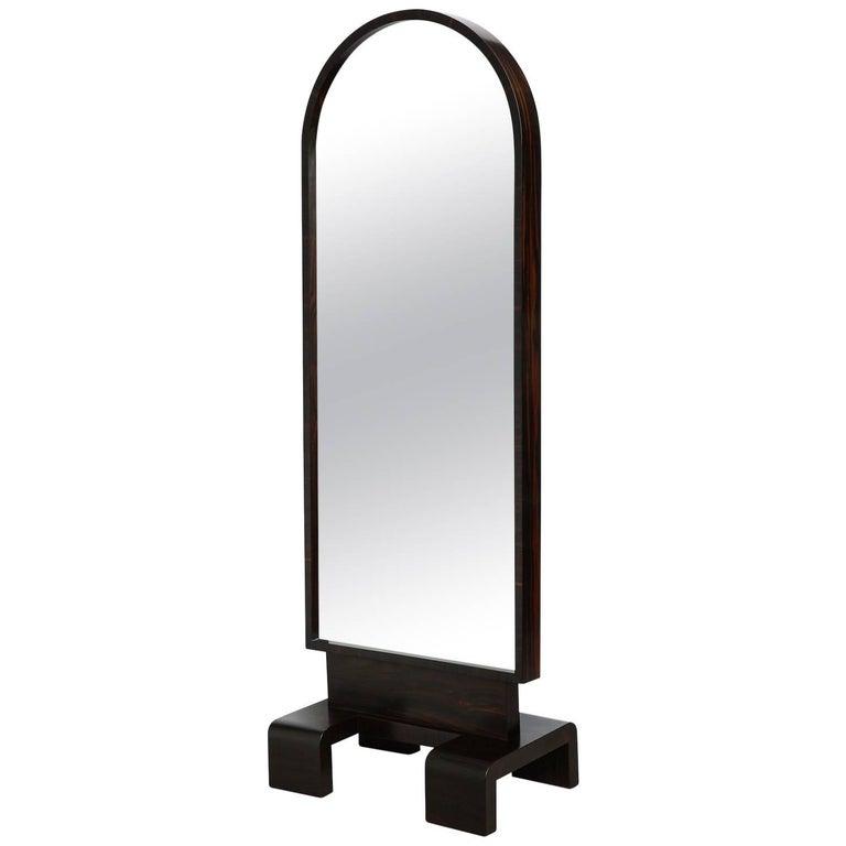 Antique brass floor standing mirror