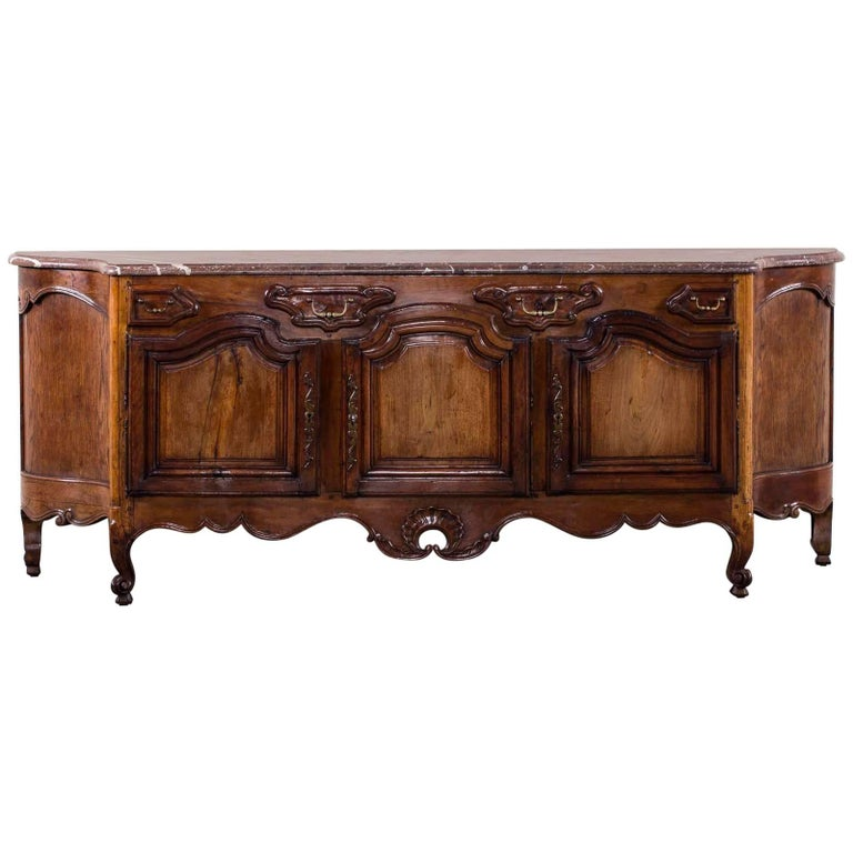 Antique French Louis XV Style Walnut Marble-Top Buffet Credenza, France,  1780 For - Antique French Louis XV Style Walnut Marble-Top Buffet Credenza