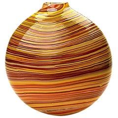 Red Blown Glass Round Vase, Lava Swirl Series by Siemon & Salazar