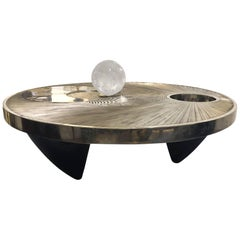 """White Bronze Coffee Table with Rock Crystal Sphere """"Il Bacio"""""""