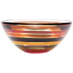 Red Amber Striped Low Bowl, Handblown Sculpted Glass by Siemon & Salazar