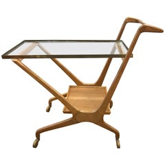 1950s Midcentury Rolling Bar Cart by Cesare Lacca for Cassina