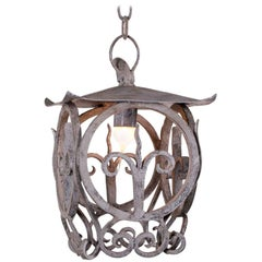 Square Forged Iron Antique French Lantern, France, circa 1840