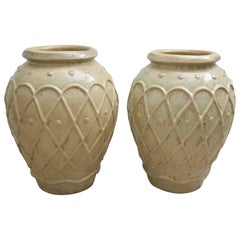 Set of Two Glazed Pottery Urns