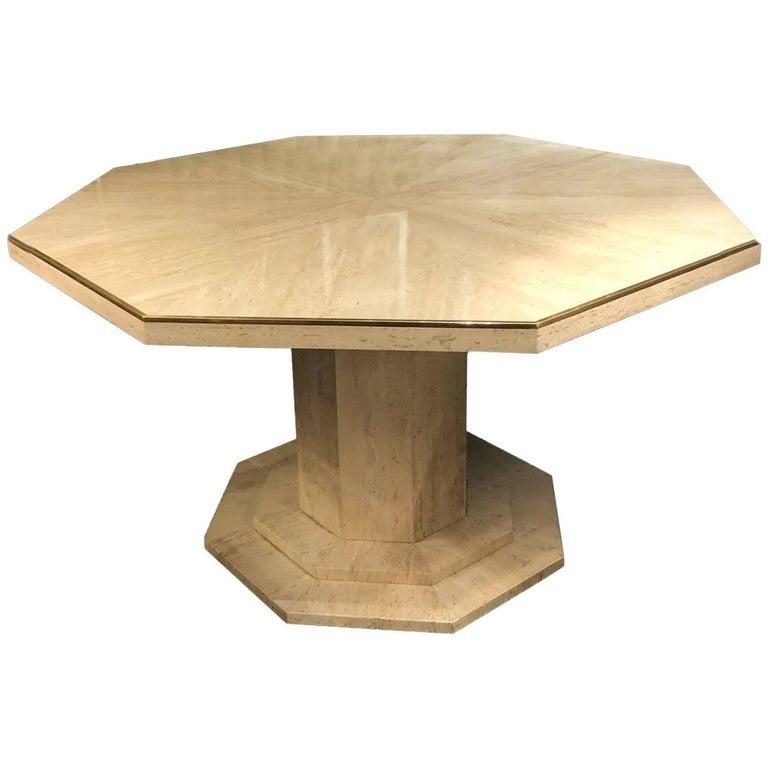 Octagonal Travertine Center Table, Italy, 1970s