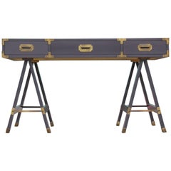 Modern Grey Lacquered Baker Style Campaign Desk with Brass Hardware