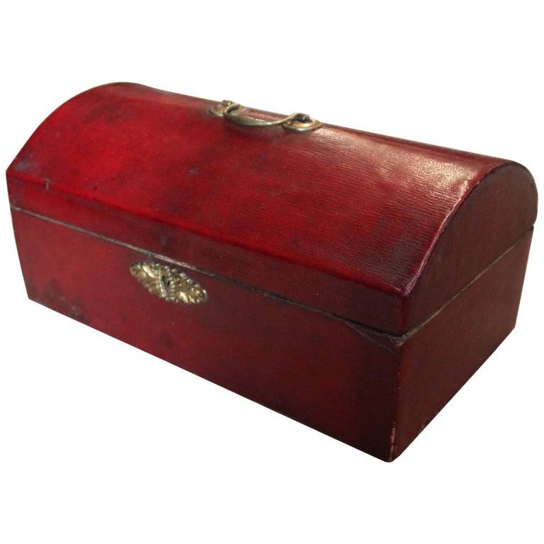 Georgian Red Leather Document Box