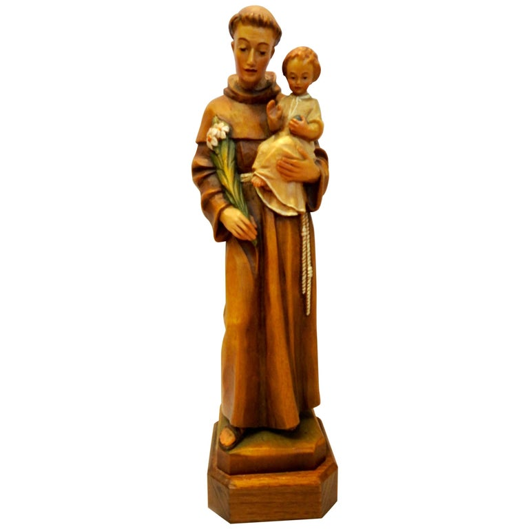 ANRI Wooden Hand-Carved Figurine of St. Anthony with Christ Child