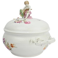Antique KPM Royal Berlin Porcelain Hand-Painted Tureen with Cornucopia & Cherub