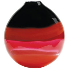 Red Murano Inspired Glass Squat Vase, Banded Series by Siemon & Salazar