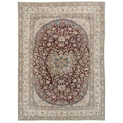Vintage Persian Wool and Silk Nain 10'7 x 15'7