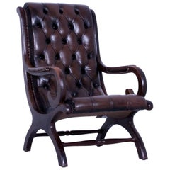Chesterfield Armchair Brown Leather Buttoned Vintage Retro Wood Handmade