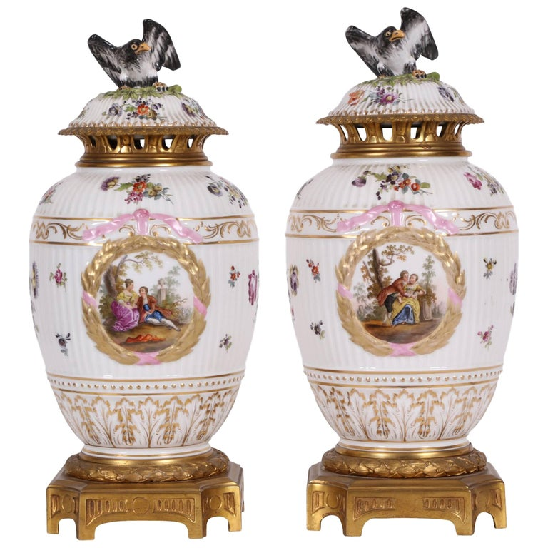 Pair of Antique Lidded Porcelain Vases with Gilt Bronze Mounts