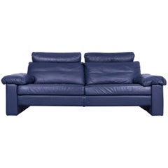 COR Conseta Designer Sofa Leather Blue Three-Seat Couch Modern