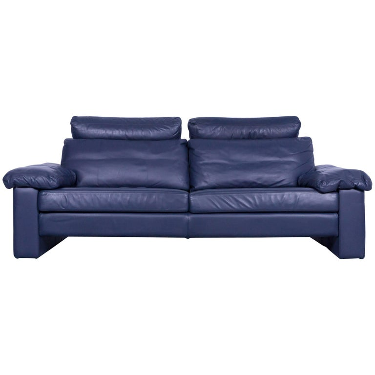 Cor Conseta Designer Sofa Leather Blue Three Seat Couch Modern For Sale At 1stdibs