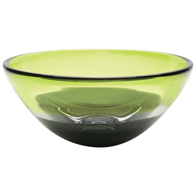 Two-Tone Green Smoke Blown Glass Bowl by California Designer Caleb Siemon